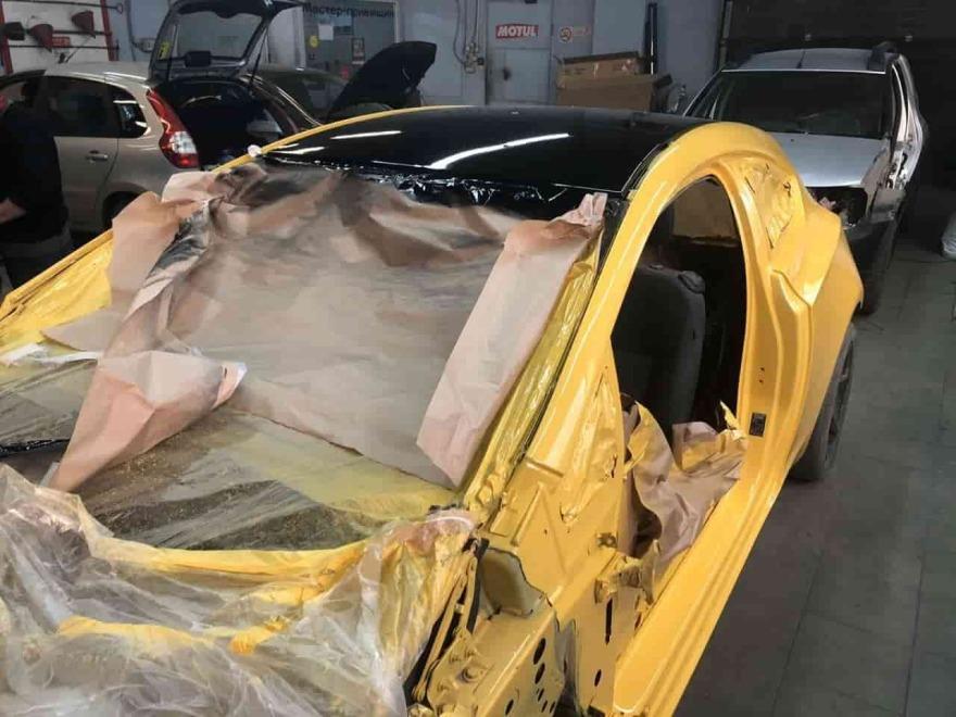 Фото процесса покраски Opel