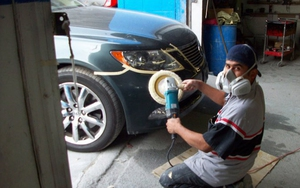 Фото процесса полировки авто