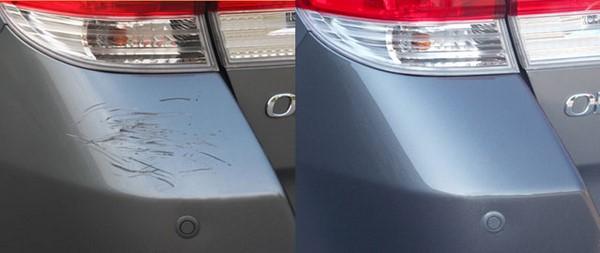 Фото до и после удаления царапины